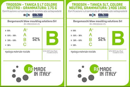 Nuova Certificazione Taniche in HDPE Riciclato
